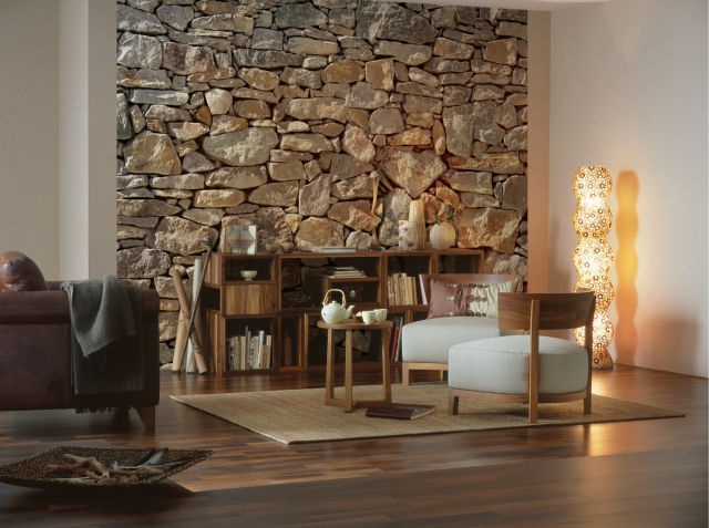 Cool & cozy - Photomurals with wood and stone motifs 3