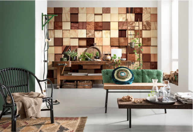 Cool & cozy - Photomurals with wood and stone motifs 6