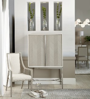 Bernhardt Axiom Bar Cabinet 381-840, suggested retail $3,360. Axiom Arm Chair 381-566, suggested retail $700. Photo Credit: Bernhardt